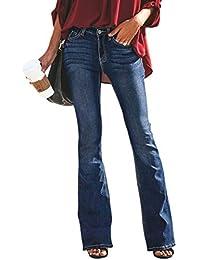 Suvimuga Femmes Flare Jeans Vintage Mi Montée Équipée Denim Long Pantalon