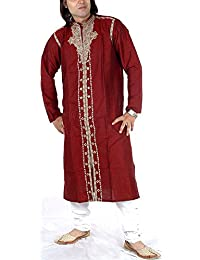 Exotic India Men's Maroon Achkan With Embroidered Paisleys And Self-Design - Maroon