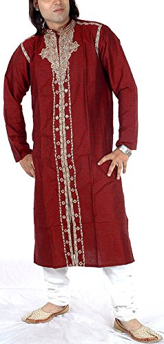 Exotic India Men's Maroon Achkan with Embroidered Paisleys and Self-Design - MaroonGarment...
