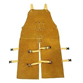 Mufly Lang Anti-Flamme Schweißerschürze Welding Schutzkleidung aus Rindleder Lederschweiß-Latzschürze mit Geteiltem Bein AnzugSchweißer