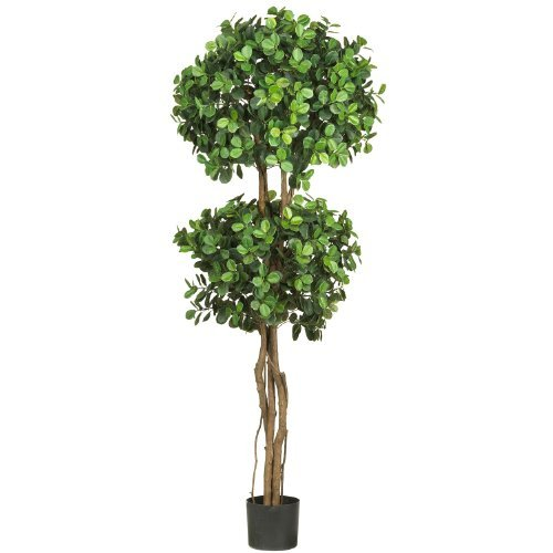 Nearly Natural 5248 Eucalyptus Double Ball Topiary Silk Tree, 5.5-Feet, Green by Nearly Natural - Ball Topiary Silk