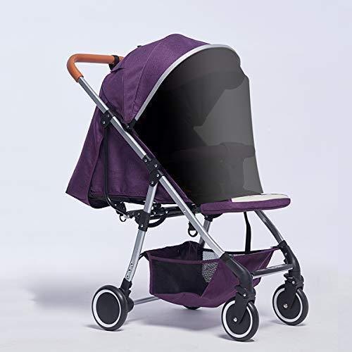 Eustoma Leichter Kinderwagen, Faltbar, Leicht Zusammenfaltbar, Tragbarer Kinderwagen Mit Fünfpunkt-Sicherheitsgurt, UV-Schutztuch Und Übergroßem Aufbewahrungskorb,Purple