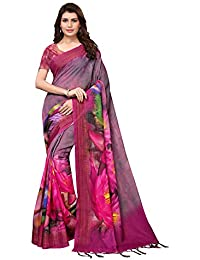 AKHILAM Women's Floral Printed Linen Saree with Unstitched Blouse Piece (Pink_4ARDHN26010)