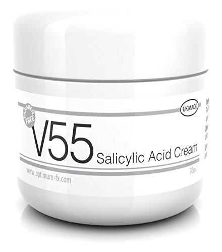 V55 Crème Acide Salicylique Pour Les Tâches Points Noirs Imperfections et Problèmes De Peau SANS Parabène 50 Grammes
