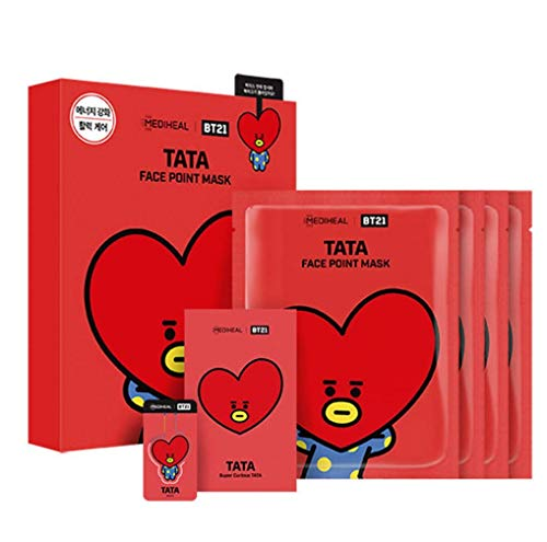 Antioxidant Maske (Mediheal - BT21 Face Point Mask BTS colaboration character ((Tata), 20ml x 4 sheets (Face Mask)) + Free Gift by WhoseGoods)