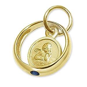 CLEVER SCHMUCK Goldener kleiner Taufring Engel rund mit Stein safirblau 333 GOLD 8 KARAT