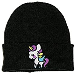 Extreme Largeness Cute Kawaii Funny Unicorn Patch Knitted Beanie Hat Black One Size