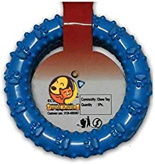 Foodie Puppies Hard Rubber Ring Paw Print Flavored Chew Toy for Dogs - Color May Vary