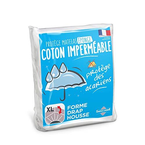 Sweethome | Protège Matelas Imperméable - 140x190/200 cm - Bouclette 100% Coton - Anti Acariens -...