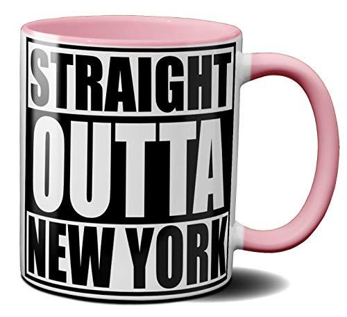 OM3® - New-York - Café - Tasse | Keramik Becher | American Football Mug | 11oz 325ml | Beidseitig Bedruckt | Rosa