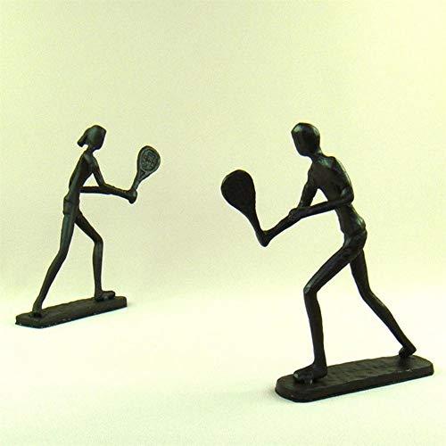 Abstrakte Tennis Liebhaber Figuren handgemachte Gießerei Eisen Badminton Spieler Miniaturen Handwerk für Heimtextilien und Kunstsammlung, Schokolade, M