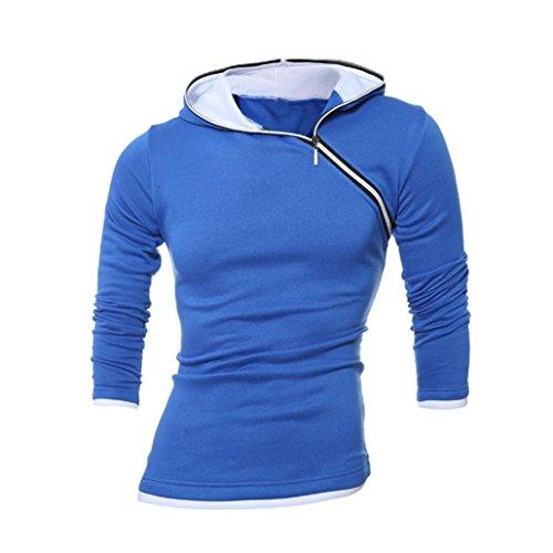 Felpa con cappuccio per gli uomini, FEITONG giacca invernale con cappuccio cappotto caldo outwear maglione Blu
