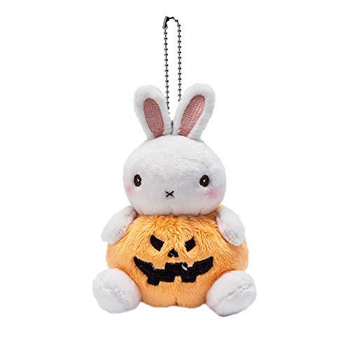 Fansi 1PC Halloween Plüsch Puppe Kürbis Bär Schlüssel Hase Frosch Hundespielzeug Pig Plüsch Tasche Anhänger Geschenk, Plüsch, Hase, 13 cm