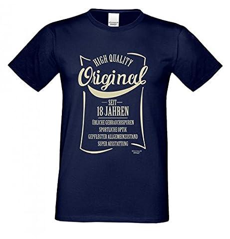 T-Shirt zum 18. Geburtstag - Original seit 18 Jahren - Lustiges Sprücheshirt Motivshirt Geschenk Idee - Farbe Navy-Blau, Größe:L