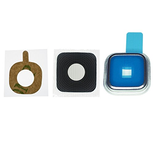 Samsung Galaxy S5 Kamera Linse Glas Abdeckung mit Rahmen Farbe Silber und Abdichtung, Klebepad, von...