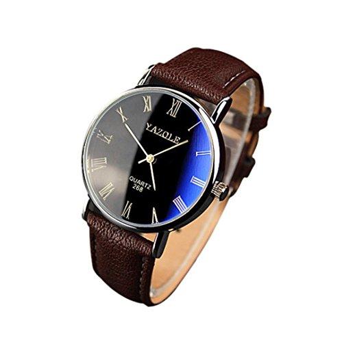 Fulltime(TM) Style Luxueux Nouveau Hommes Montres à Quartz Analogiques de Verre Bleu Bracelet Brun en PU Cuir