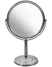 Art Street 5X Magnification Metal Table Top Mirror (15 cm x 26 cm x 32 cm, Silver)