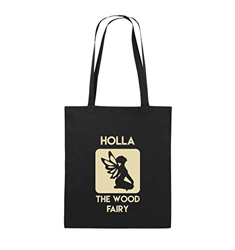 Comedy Bags - HOLLA THE WOOD FAIRY - Jutebeutel - lange Henkel - 38x42cm - Farbe: Schwarz / Pink Schwarz / Beige