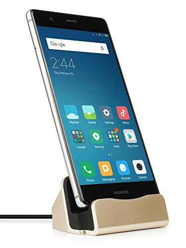 MyGadget Dockingstation Ladestation [USB C] für Android Smartphones - Halterung Dock für z.B. Samsung Galaxy S9 S8, Note 9 8, Huawei P20 Pro - Gold