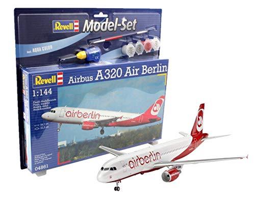 Flugzeug 1:144 - Airbus A320 AirBerlin im Maßstab 1:144, Level 3, originalgetreue Nachbildung mit vielen Details, Zivilflugzeug, Passagierflugzeug, Model Set mit Basiszubehör, 64861 ()