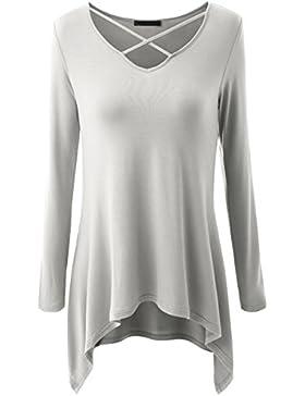 Scothen Señoras V-cuello túnica mujeres gran tamaño dilataron montón superior largo asimétrico suéter tapas blusa...