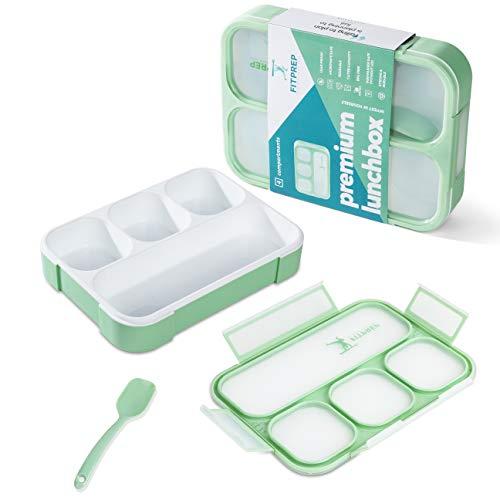 FITPREP® Lunchbox Meal Prep Bento Brotdose - 1 Stück - 4 Fächer - Dicht - BPA frei- für Kinder & Erwachsene inkl tollem Ebook mit Rezepten