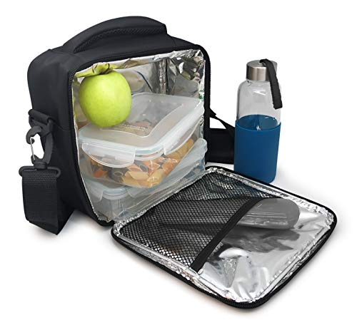NERTHUS Lunch Bag Fiambrera Bolsa termica Porta Alimentos, Negra 2 Bolsillos, Única
