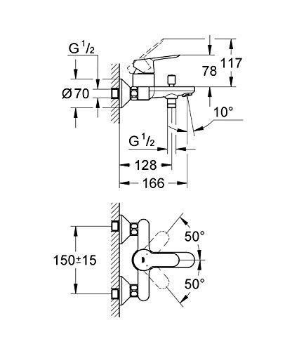 Grohe – Start Edge Wannenbatterie mit Einhebelmischer, Chrom - 2