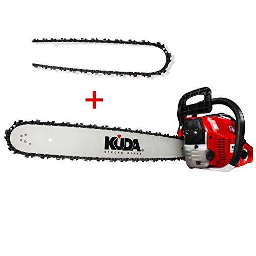 KUDA CN 52 Motosierra de Gasolina, 2 tiempos, 1 cadena extra, roja, espada 50 cm, 3 cv, 52 cc