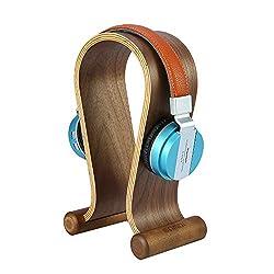 SAMDI Holz Nussbaum Omega-Kopfhörer mit Ausstellungsstand-Halter-Aufhänger