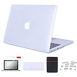 "Se7enline Macbook Air [5 In 1 Bundle] Case Cover Matte Hard Shell Clip Snap-on For Macbook Air 13.3"" (Models: A1369, A1466),with Soft Sleeve Bag & Silicon Keyboard Protector & Clear Lcd Screen Protector & 12pcs Dust Plug, Transparent Clear"
