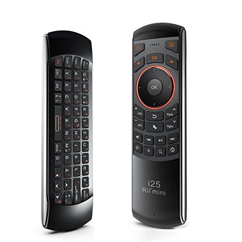 Rii Mini i25 Wireless (QWERTZ) - Mini Tastatur mit Air-Maus und Infrarot-Fernbedienung für Android TV Box, Mini PC, HTPC