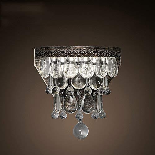 BAIJJ Amerikanischen Retro Wohnzimmer esszimmer Schlafzimmer nachttischlampe Hintergrund Wandleuchten kreative Tropfen kristall Wandleuchte (Farbe: weißes licht)