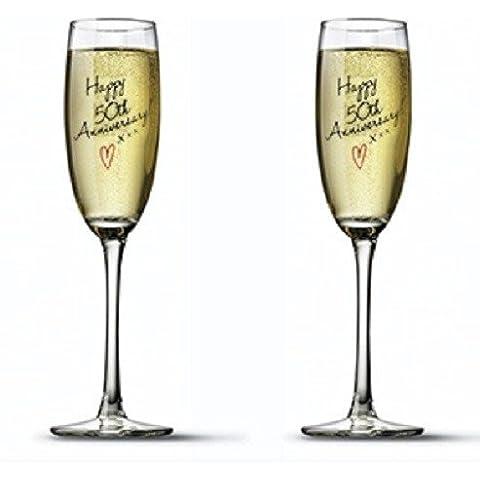 Set da 2, motivo: 50° anniversario di matrimonio (con flute da Champagne In vetro, In confezione regalo - 50 ° Anniversario Set