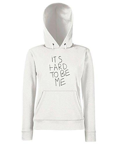 T-Shirtshock - Sweats a capuche Femme TDM00136 it is hard to be me Blanc