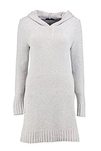 gris Femmes Marin Robe Pull À Capuche En Maille Douce Gris