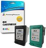 Printing Pleasure 2 XL Tintenpatronen kompatibel zu HP 350XL 351XL für Photosmart C4280 C4380 C4480 C4485 C4580 C5280 D5360 Deskjet D4260 D4360 Officejet J6410 J6415 - Schwarz/Color, hohe Kapazität