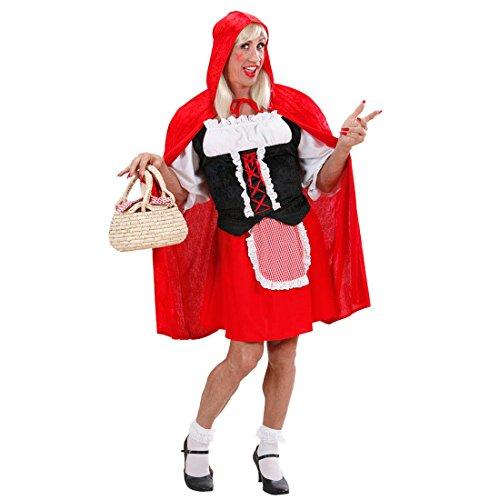 NET TOYS Herren Rotkäppchen Kostüm Männer Kleid XL 54/56 Junggesellenabschied Travestie Kostüm Drag Queen Märchenkleid JGA Männerballett