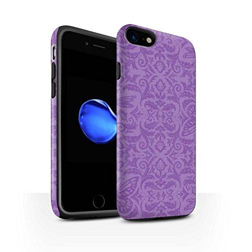 STUFF4 Matte Harten Stoßfest Hülle / Case für Apple iPhone 8 / Rot Muster / Insekten Muster Kollektion Lila