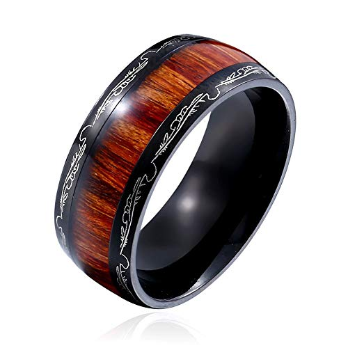 XBYMEN Mens Wedding Band Titanium Black Ring Holz Inlay Muster Dome Comfort Fit - Black Inlay Ring Onyx