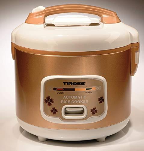 TIROSS TS997 | Automatischer Reiskocher mit Dampfgarer und Warmhaltefunktion | 1,2l + 500W für 6 schnelle Portionen | inkl. Löffel, Messbecher, Innentopf und Dämpfer