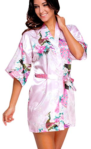 FLYCHEN Damen bunt satin Nachthemden japanische Kiminos Frauen Schlafanzug Pink XL (Kurz-pyjama Gedruckte)