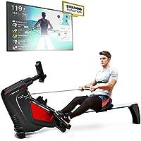 Sportstech RSX500 Máquina de Remo, Smartphone Control, App Fitness, 12 programas Remo + 4 cardíaca, 16 Niveles Resistencia, Modo competición, pulsómetro Incluido