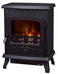 FoxHunter Electric Log Burner | Steel Flame Effect 3D Heater | Vintage Cast Iron Indoor Home Freestanding Woodburner Fireplace | Coal Burner Fire Fake Flame | 1800W - 188T Black