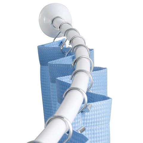 Interdesign 79071EU Gebogene verstellbare Duschvorhangstange, 104 - 183 cm, weiß