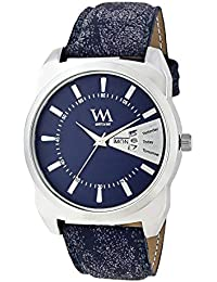 WM Blue Dial Blue Leather Strap Premium Branded Limited Edition Day And Date Collection Watch For Men DDWM-052