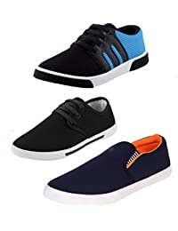 STYLIVO Combo Of 3 Men's Canvas Black_Sky Blue Sneakers, Black Sneakers, Navy Blue Loafers Shoes