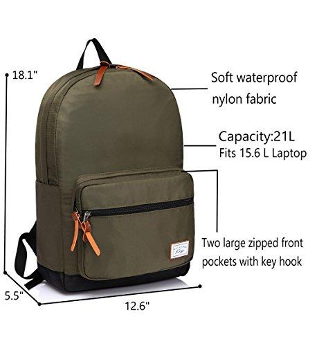 Kovsqo Wasserdichter Schulrucksack mit Gepolstertem 15,6 Zoll Laptopfach Lässige Daypack Schwarz Grün