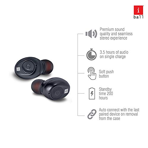iBall EarWear TW10 in-Ear Bluetooth Wireless Headphones with Protective Charging Case, Black Image 3