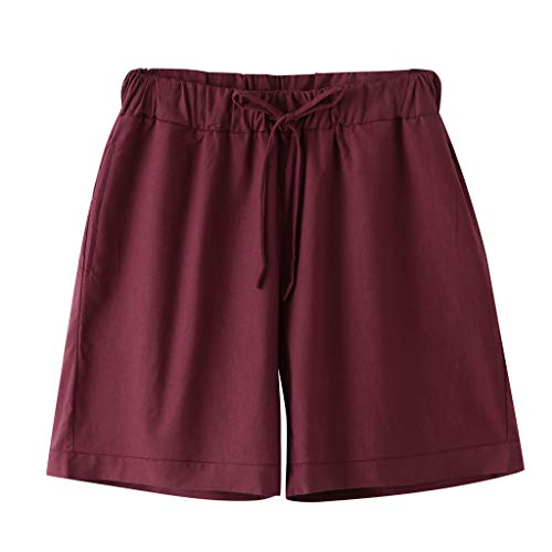 GreatestPAK Mens Sommer Baumwolle Kurze Hosen Normallack Leinen Drawstring 1/2 Strand-Shorts,Lila,EU:S(Tag:L) - Militär-thermo-unterwäsche